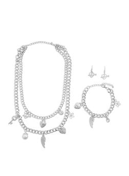 Layered Rhinestone Charm Necklace with Bracelet and Earrings - 1138035153867