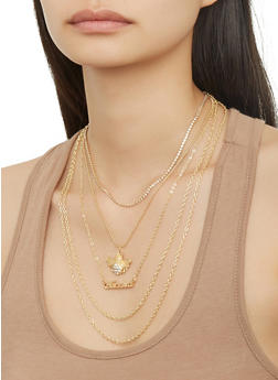 Layered Charm Necklace and Hoop Earrings Set - 1138035154747