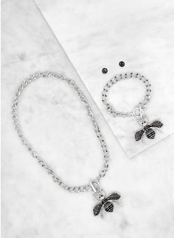 Bee Toggle Necklace with Bracelet and Earrings - 1138035154860