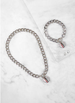 Heart Charm Curb Chain Necklace with Bracelet and Earrings - 1138035154866