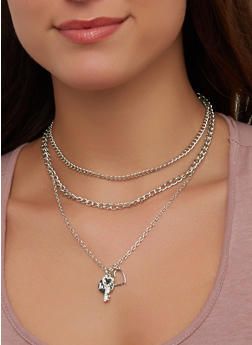 Layered Charm Necklace and Hoop Earrings   1138035155047 - 1138035155047
