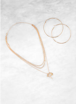 Three Tiered Chain Cross Necklace with Hoop Earrings - 1138035155049