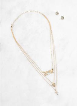 GRL PWR Cross Charm Necklace with Stud Earrings - 1138035155128