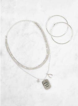 Good Vibes Only Dog Tag Chain Necklace with Hoop Earrings - 1138035155132