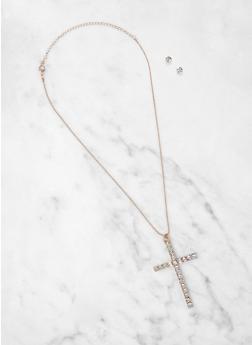 Rhinestone Cross Necklace with Stud Earrings - 1138035155147