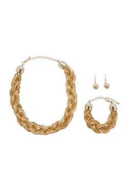 Metallic Braided Necklace with Bracelet and Earrings - 1138035155381
