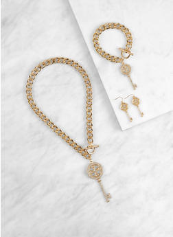 Key Charm Necklace with Bracelet and Drop Earrings - 1138035155451