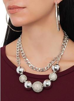 Layered Rhinestone Bead Necklace with Hoop Earrings - 1138035155561