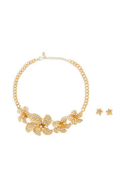 Rhinestone Flower Necklace with Stud Earrings - 1138035155823