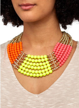 Multi Beaded Necklace and Earrings - 1138035155866
