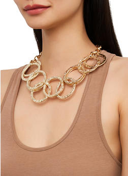 Metallic Ring Collar Necklace and Earrings Set - 1138035155940