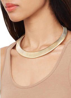 Metallic Collar Necklace with Cuff Bracelet and Earrings - 1138035156827