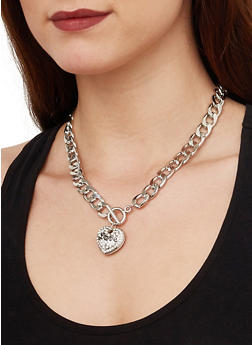 Love Curb Chain Necklace with Bracelet and Earrings - 1138035159517