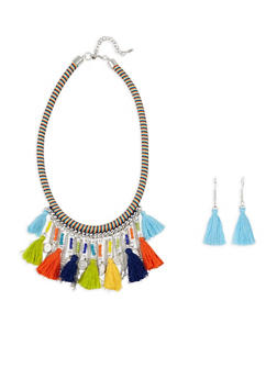 Woven Tassel Necklace with Earrings - 1138044092579