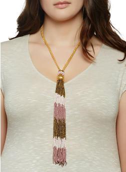 Beaded Fringe Tassel Necklace and Earrings - 1138044093885