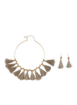 Tassel Collar Necklace with Matching Earrings - 1138044093886