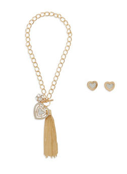 Heart Tassel Chain Necklace with Stud Earrings - 1138057690027
