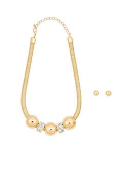Metallic Cord Rhinestone Necklace with Stud Earrings - 1138057690260