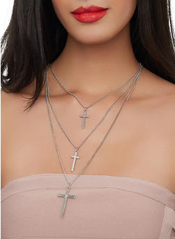Layered Cross Charm Necklace with Stud Earrings - 1138057690833