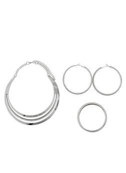 Metallic Rhinestone Collar Necklace with Bracelets and Hoop Earrings - 1138057693869