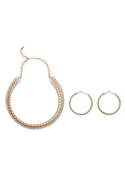 Metallic Spiral Rhinestone Necklace and Earrings - 1138057693971