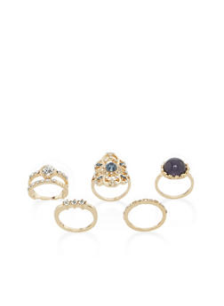 Set of 3 Jeweled Rings - 1138057694034