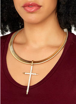 Cross Pendant Collar Necklace with Drop Earrings - 1138057694884
