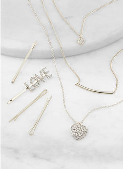 Heart Layered Necklace with Bobby Pins Set - 1138057695447