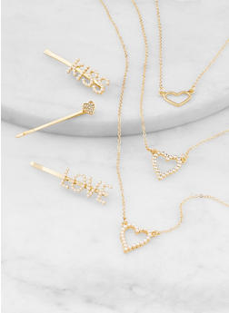 Heart Layered Necklace with Bobby Pin Trio - 1138057695499