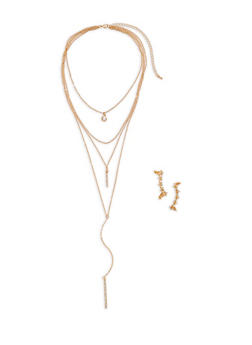 Layered Charm Necklace and Rhinestone Ear Cuffs - 1138057695716