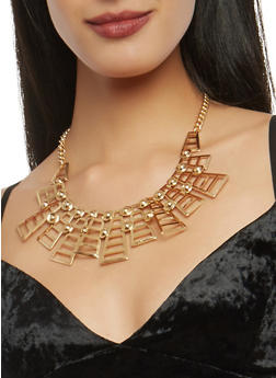 Geometric Collar Necklace with Bracelets and Stud Earrings - 1138057695789