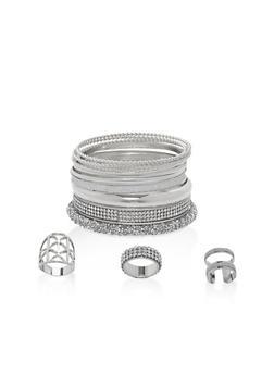 Plus Size Rhinestone Encrusted Bangles and Rings Set - 1138057695902