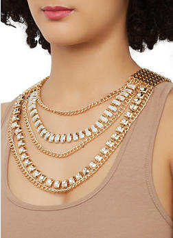 Layered Chain Necklace with Matching Earrings - 1138057695943