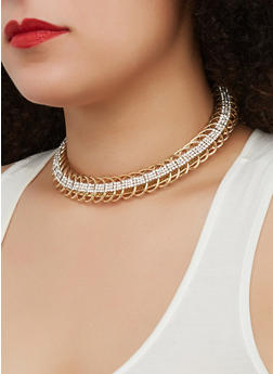 Metallic Braided Collar Necklace and Hoop Earrings Set - 1138057697397