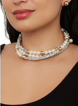 Faux Pearl Coil Necklace and Stud Earrings - 1138057697981