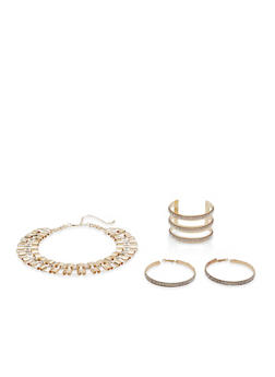 Rhinestone Studded Necklace with Cuff Bracelet and Earrings - 1138057698083