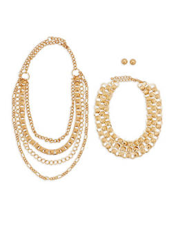 Wear 3 Ways Metallic Necklaces with Stud Earrings - 1138057698238