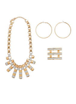 Glitter Necklace with Cuff Bracelet and Hoop Earrings - 1138057698307