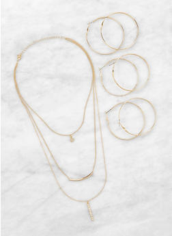 Layered Necklace and Hoop Earrings Set - 1138057698735