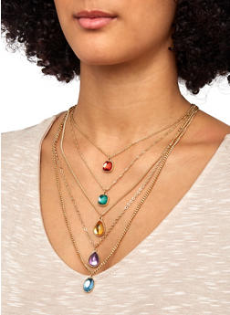 Layered Jeweled Necklace with Earrings - 1138057699294