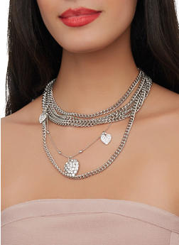 Layered Heart Charm Necklace with Stud Earrings - 1138057699451