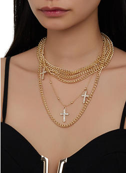Layered Cross Necklace with Stud Earrings | 1138057699452 - 1138057699452