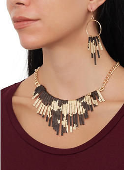 Colored Stick Necklace with Matching Earrings - 1138057699726