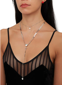 Layered Metallic Necklace with Stud Earrings - 1138057699762