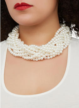 Braided Faux Pearl Necklace and Drop Earrings - 1138059631055
