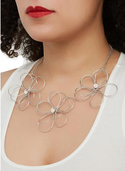 Metallic Wire Flower Necklace with Earrings - 1138059631698
