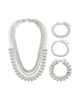 Metallic Collar Necklace Trio - 1138059635434