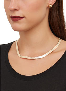 Flat Metallic Necklace with Stud Earrings - 1138062810234