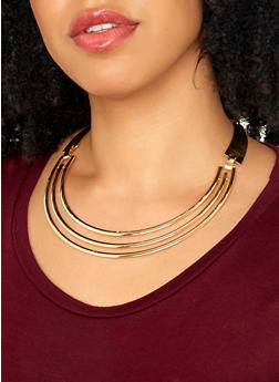 Metallic Statement Necklace and Cuff Bracelet - 1138062810941