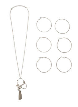 Charm Necklace with Hoop Earrings Set - 1138062813086